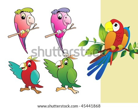 background with collection of colorful parrot - stock vector