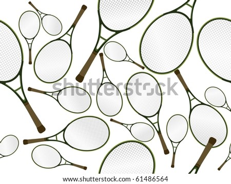 background with collection of tennis racket - stock vector