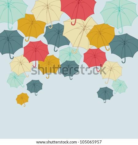 Background with collor umbrellas. Vector autumn illustration. - stock vector