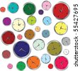 Background with colored clocks - stock vector