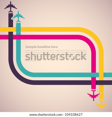 Background with colorful airplanes. Vector illustration. - stock vector