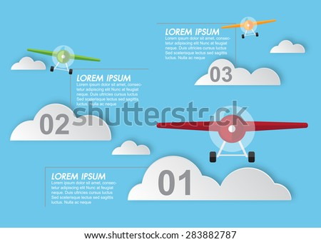 Background with colorful airplanes,Vector illustration - stock vector