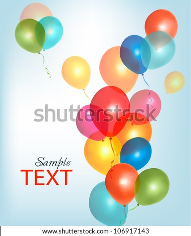 Background with colorful balloons. Vector. - stock vector