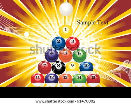 background with colorful billiard balls, vector sports background - stock vector