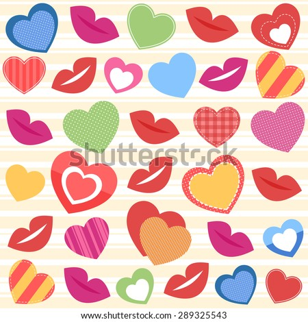 Background with colorful hearts and lips - stock vector