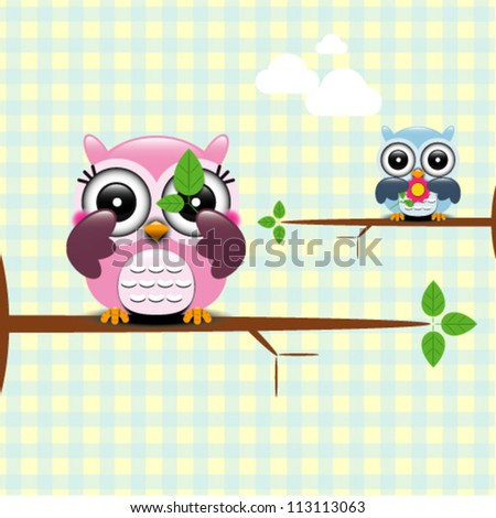Background with couple of owls - stock vector