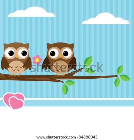 Background with couple of owls sitting on branch - stock vector