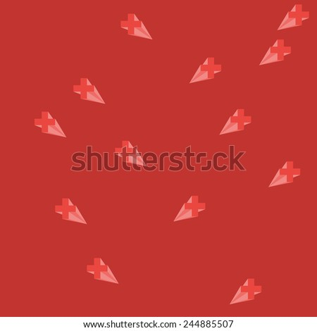 Background With Cross Icon Pattern, Vector.Colored Pattern with Plus and Volume Shadow. Vector Illustration - stock vector
