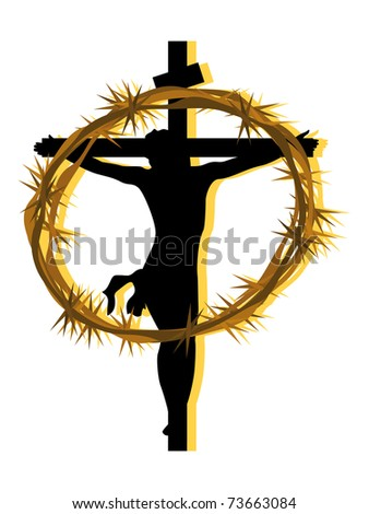 background with crucifixion of jesus, crown of throns - stock vector