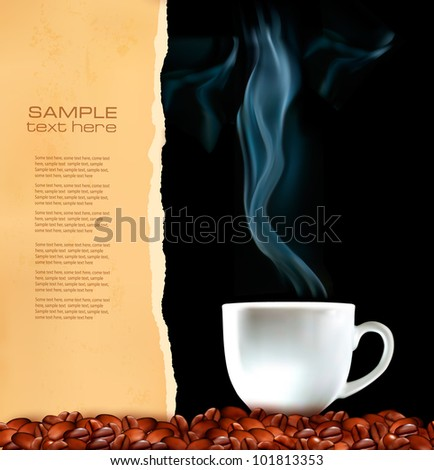 Background with cup of coffee and old ripped paper. Vector - stock vector