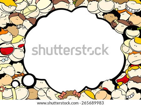 Background with cute kids and thought bubble window for your text - stock vector