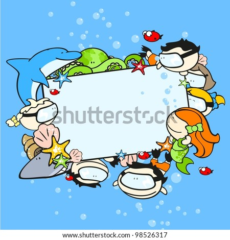Background with cute underwater world explorers - stock vector