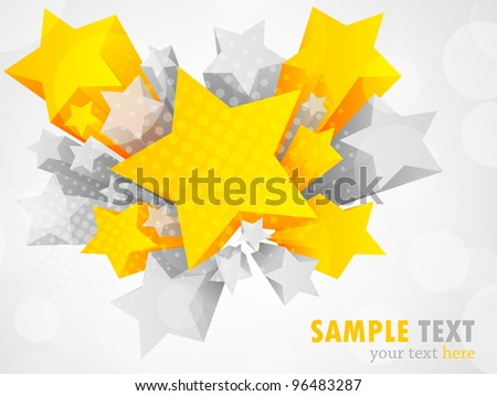 Background with 3d star - stock vector
