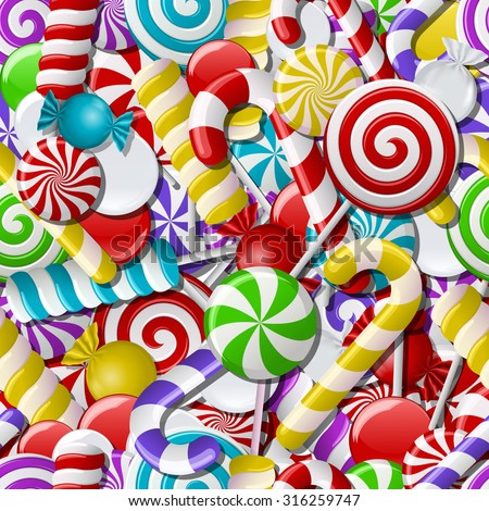 Background with different colorful candies. Seamless pattern. Vector illustration - stock vector