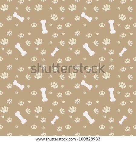 Background with dog paw print and bone - stock vector