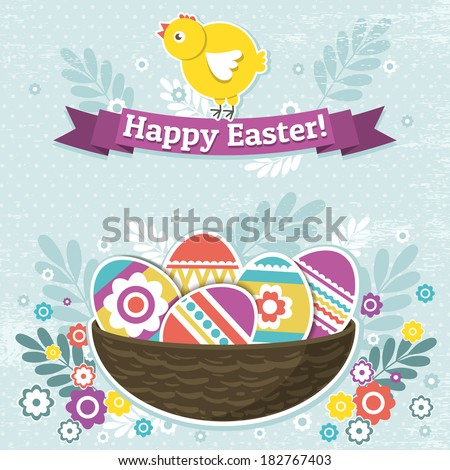 background with easter eggs and one chick, vector - stock vector