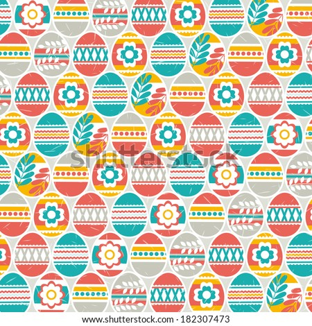 background with easter eggs, vector - stock vector