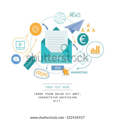 Background with email and marketing icons. - stock vector