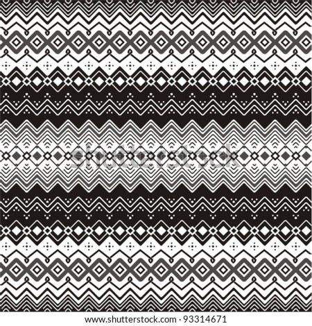 Background with ethnic motifs seamless pattern in black and white - stock vector