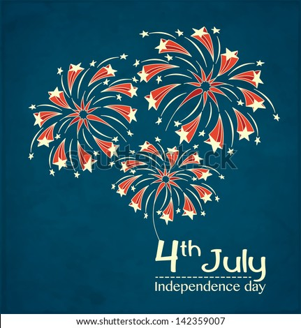 Background with festive fireworks in honor of Independence day. Card for 4th July. Vector Illustration. - stock vector