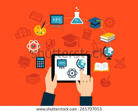 Background with flat design icons representing education, studying, e-learning or online training. Can be used for print, web or for mobile app design. - stock vector
