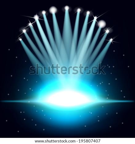 Background with floodlit. Festive illuminations - stock vector