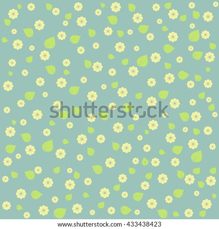 Background with floral pattern in blue tones. - stock vector