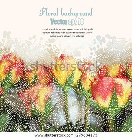 Background with floral seamless mosaic borde. Vector Illustration. - stock vector