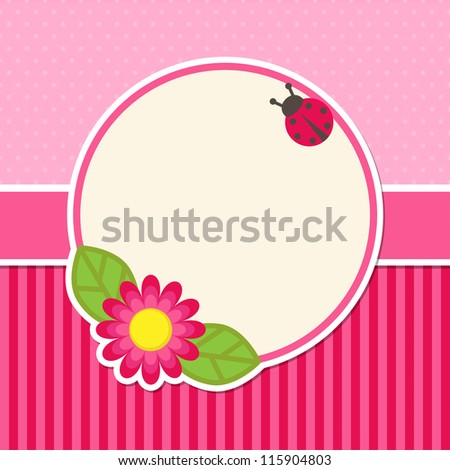 Background with flower and ladybug - stock vector