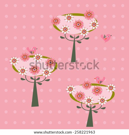 background with flowering trees and birds - stock vector