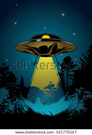 Background with flying UFO, star sky and black forest. - stock vector