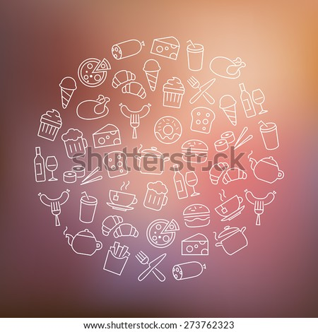 Background with food icons - modern thin lines design. - stock vector