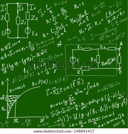 Background with formulas, number equation - stock vector