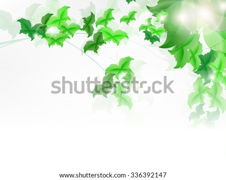 background with fresh green leaves shaped as butterfly. - stock vector