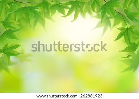 Background with fresh green leaves, vector illustration - stock vector