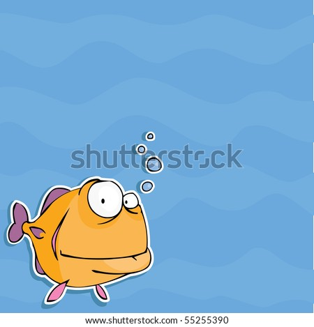 Background with funny fish - stock vector