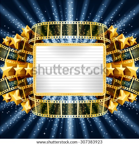Background with golden banner and film strip, and with shooting stars. EPS 10 contains transparency. - stock vector