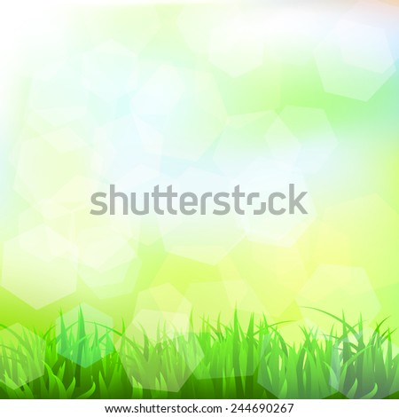 Background with grass and bokeh effect. Vector. 4 Vector.  - stock vector