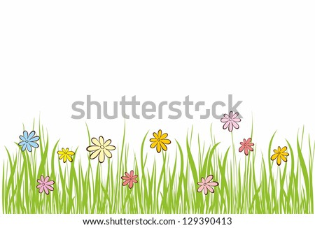 Background with grass and flowers. - stock vector