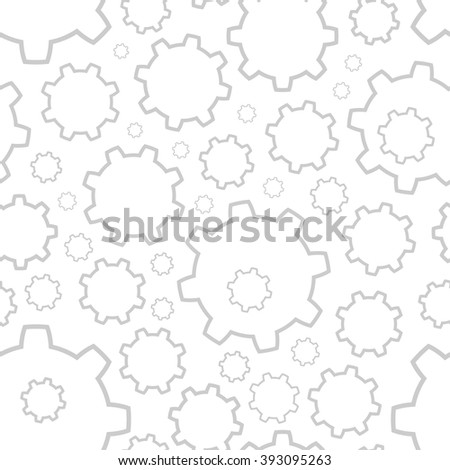 Background with gray contours gears of different sizes on a white background - stock vector