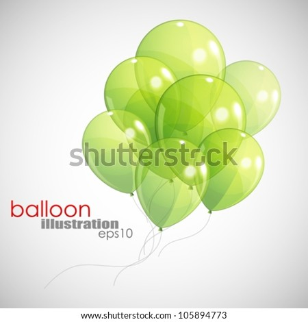 background with green balloons - stock vector