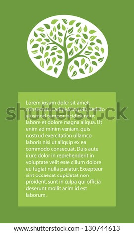 Background with green tree - stock vector