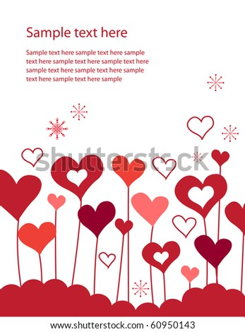 Background with growing hearts and snowflakes - stock vector