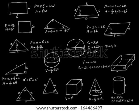 Background with hand written geometry formulas and geometric shapes and figures on blackboard - stock vector