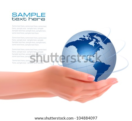 Background with hands holding globe. Vector - stock vector