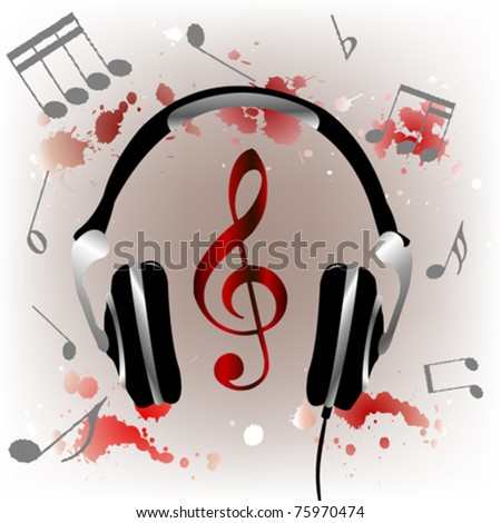 Background with headphones and ink splashes - stock vector