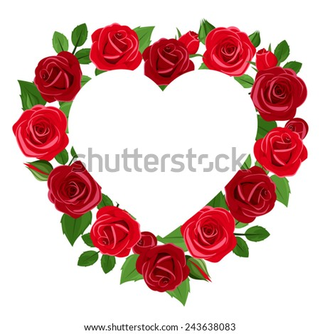 Background with heart and red roses. Vector illustration. - stock vector