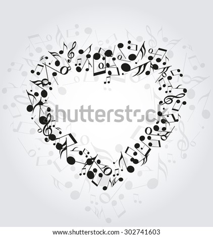 Background with heart made up of musical notes - stock vector