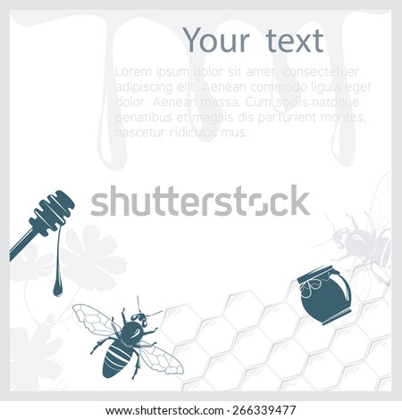 Background with honey with relevant objects on it - stock vector