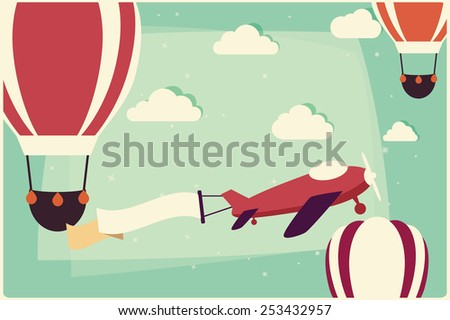 Background with hot air balloons and airplane with ribbon, vector illustration - stock vector